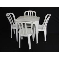 6 Jogos De Mesa + 24 Cadeiras Brancas Plástico Empilháveis