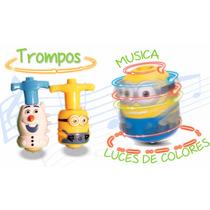 Trompo Minion Y Olaf Con Luces De Colores Y Musica