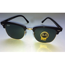 Ray Ban Clubmaster Clasico Dorado Negro Rb3016 W0365 Mediano