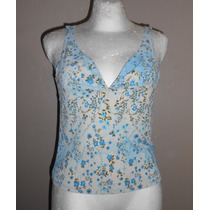 Forever 21! Linda Blusa Hueso Con Flores Azules, Escotada, S