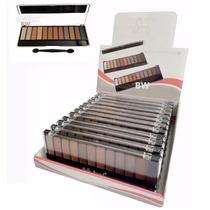 Paletas Maquiagem Sombras 3d + Pincel - Kit Caixa 12 Atacado