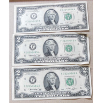 3 Billetes 2 Dolares Consecutivos- Impecables-pompeya