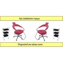 Kit Para Salão De Cabeleireiro Cadeira Poltrona Hidraulica