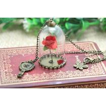 Precioso Dije Collar Rosa Encantada De La Bella Y La Bestia