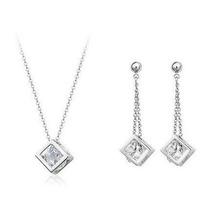 Cubos Set - Collar Y Aretes - Cristales Swarovski Style