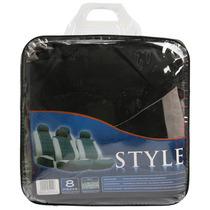 Set Fundaspara Asientos Style Polyester 8 Piezas Negra