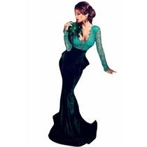 Sexy Elegante Vestido Largo Noche Fiesta Terciopelo 60850