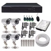 Kit Monitoramento Dvr Stand Alone 4ch + 4 Câmeras Infra.c796