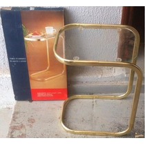 Mesa Prática Desmontável Vidro Dourada Descanso Enfeite