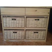 Mueble Organizador ×4 Canastos Mimbre Y 2 Cajones.cajonera