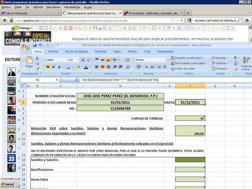 Programa Declaracion Islr Persona Natural Excel Bs 300