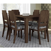Conjunto De Mesa Rv Turquesa 6 Cadeiras Assento Floral Noce