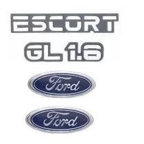 Kit Emblemas Ford Escort Gl 1.6 Até 1992 - Modelo Original .