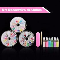 Lote 5 Kits De Acessórios Decorativos Unhas Com 800 Itens