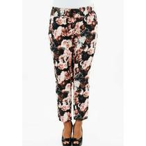 Calça Plus Size Estampa De Flores Rosas Elastano Tamanho 48