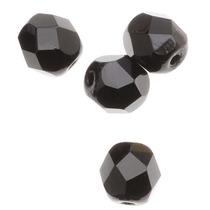 Cuentas Cristal Pulido Checo 6mm, Negro Azabache (25)