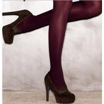 Medias Panty Tipo Leggins Color Vino Lisas