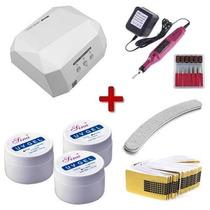Cabine Led + Kit Gel Uv + Moldes + Lixa Banana + Lixa Eletri