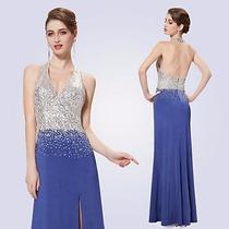 Vestido De Festa Frente Única. Azul E Prata. Ever-pretty!!!