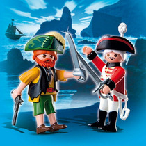 Playmobil Pirata Y Soldado Con Espadas Art 4127 2 Figuras