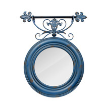 Espelho Redondo Trabalhado Azul Velho Oldway