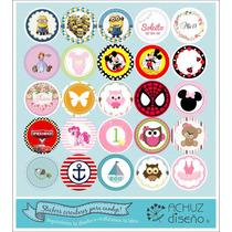 35 Stickers Etiquetas Redondas Candybar Personalizados