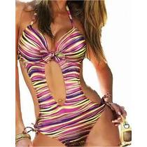 Bikini Monokini Vintage Push Up Hermoso Traje De Baño Mujer