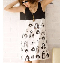 Oix Closet Polivestido Vestido Impresión Negro/blanco