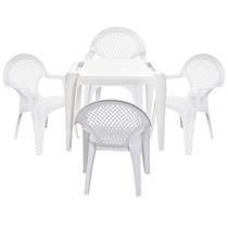 Conjunto Mesa De Plástico E 4 Cadeiras Poltrona Infantil