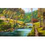 Quadro Rio Paisagem 100x60cm Pintura Óleo Sobre Tela