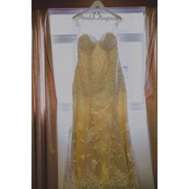 Vestido De Noiva C/ Renda Off-white E Cetim Conhaque