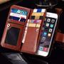 Capa Couro Carteira Iphone 6 6s Porta Retrato Película Vidro