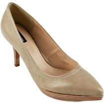 Nº 38 Sapato Scarpin Emporio Naka Preto Bege Couro Legítimo