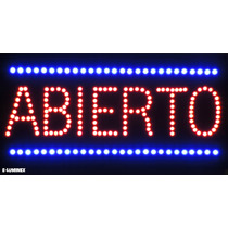 Anuncio Luminoso De Led Abierto 30x60cm Ultrabrillante Led