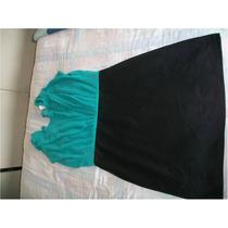 Lindo Vestido Negro Con Azul Turquesa Limpia De Closet Cambi