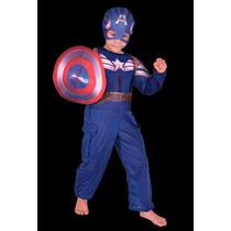 Disfraz Atuendo Traje Del Capitan America Con Escudo