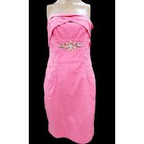Vestido Rosa Drapeado Rendado