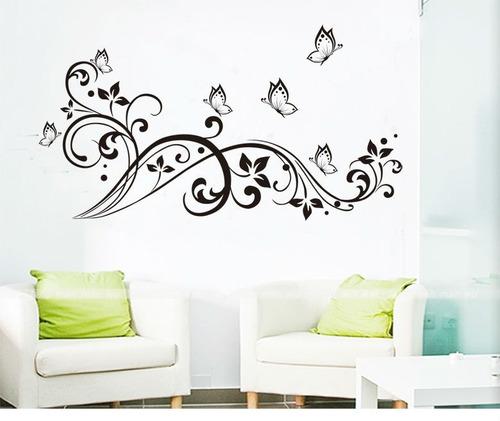 Vinilos adhesivos decorativos mariposas y flores jm7255 for En donde venden vinilos decorativos
