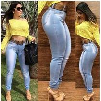 Calça Jeans Feminina Elastano Delavê Levanta E Modela Bumbum