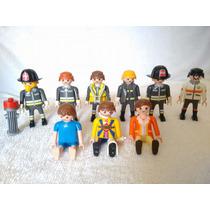 Playmobil Lote 9 Figuras Rescate Bomberos Civiles Paramedico