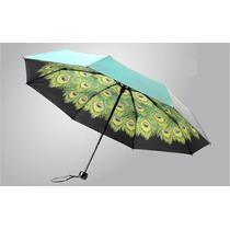 Paraguas Sombrilla Azul Turquesa Diseño Plumas De Pavo Real