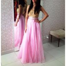 Vestido Rosa Com Dourado/madrinha/debutante/casamento