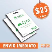 Microsoft Gift Card 25 Dólares Cartão Presente Xbox Live Usa