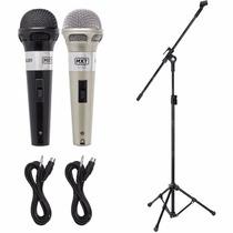 2 Microfones Profissionais + 1 Pedestal Com Cachimbo + Cabos