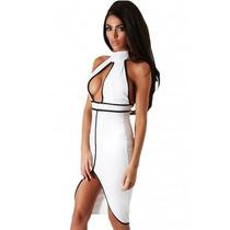 Sexy Vestido Blanco Negro Tipo Halter Escote Al Frente