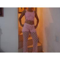 Conjunto Pantalon Y Blusa En Crochet De Algodon Y Seda Imp