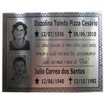Placa Tumular Em Aço Inox 20 X 16 Cm Com Fotos, E Mensagens.