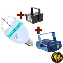 Tri Combo Luces Dj Laser Lluvia + Flash + Luz Led Giratoria