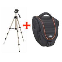 Bolsa Case + Tripe Câmera Digital Dslr E Filmadora Universal