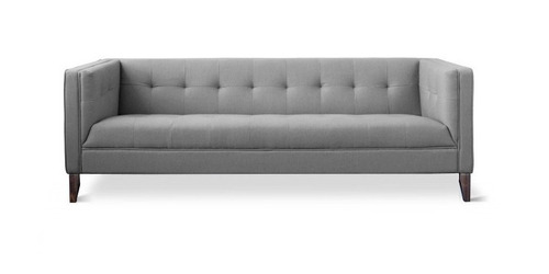 Sofa moderno tapizado tela base madera by prom bel for Sofa tapizado moderno